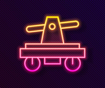 Glowing neon line Draisine handcar railway bicycle transport icon isolated on black background. Vector