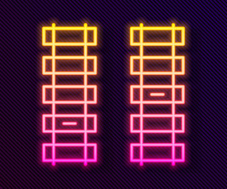 Glowing neon line Railway, railroad track icon isolated on black background. Vector
