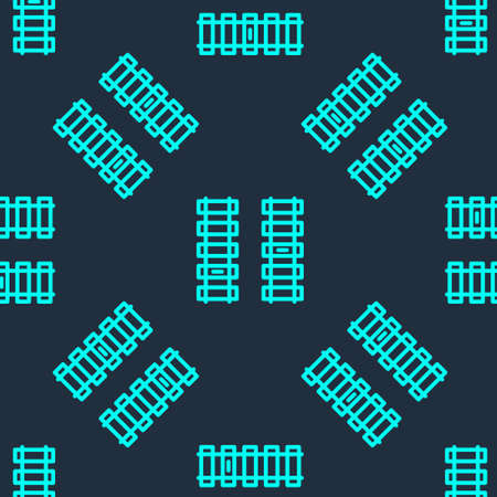 Green line Railway, railroad track icon isolated seamless pattern on blue background. Vector Illustration