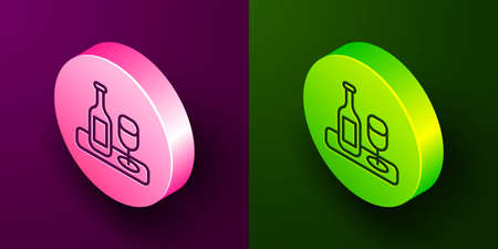 Isometric line Wine bottle with glass icon isolated on purple and green background. Circle button. Vector 矢量图像