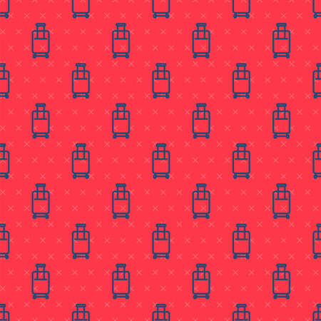Blue line Suitcase for travel icon isolated seamless pattern on red background. Traveling baggage sign. Travel luggage icon. Vector Vettoriali