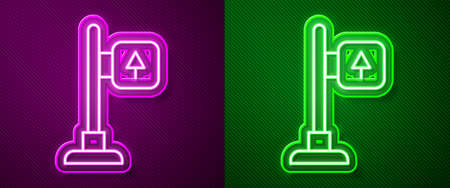 Glowing neon line Road traffic sign. Signpost icon isolated on purple and green background. Pointer symbol. Street information sign. Direction sign. Vector 矢量图像