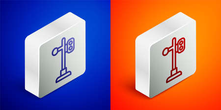 Isometric line Train traffic light icon isolated on blue and orange background. Traffic lights for the railway to regulate the movement of trains. Silver square button. Vector