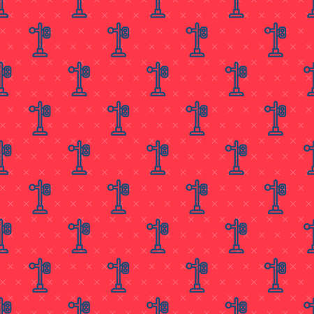Blue line Train traffic light icon isolated seamless pattern on red background. Traffic lights for the railway to regulate the movement of trains. Vector