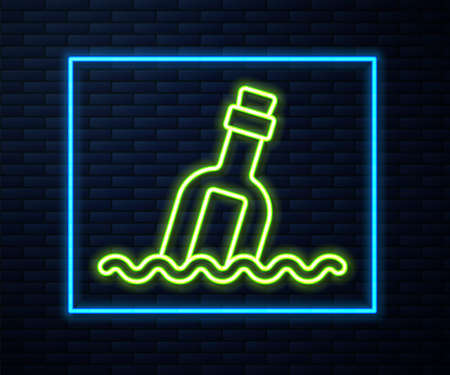 Glowing neon line Glass bottle with a message in water icon isolated on brick wall background. Letter in the bottle. Pirates symbol. Vector