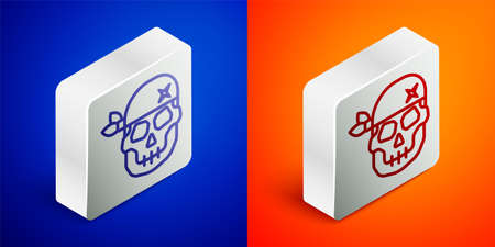 Isometric line Skull icon isolated on blue and orange background. Happy Halloween party. Silver square button. Vector
