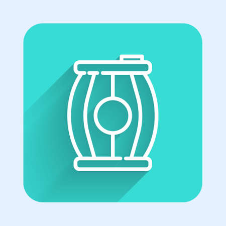 White line Gun powder barrel icon isolated with long shadow. TNT dynamite wooden old barrel. Green square button. Vector Vettoriali