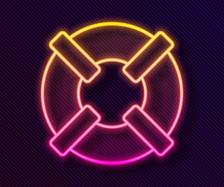 Glowing neon line Lifebuoy icon isolated on black background. Lifebelt symbol. Vector