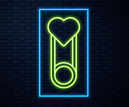 Glowing neon line Baby clothes pin icon isolated on brick wall background. Classic closed steel safety pin. Vector 矢量图像