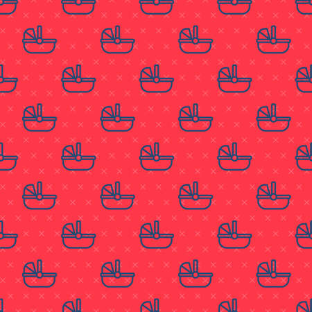 Blue line Baby stroller icon isolated seamless pattern on red background. Baby carriage, buggy, pram, stroller, wheel. Vector