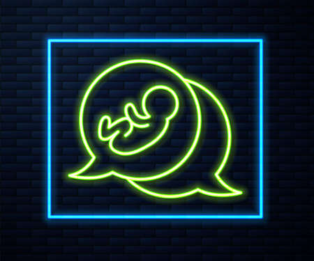 Glowing neon line Baby icon isolated on brick wall background. Vector