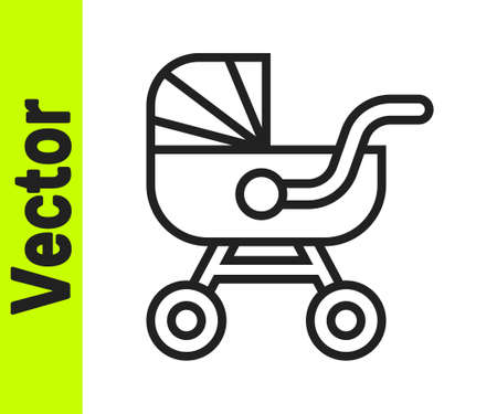 Black line Baby stroller icon isolated on white background. Baby carriage, buggy, pram, stroller, wheel. Vector