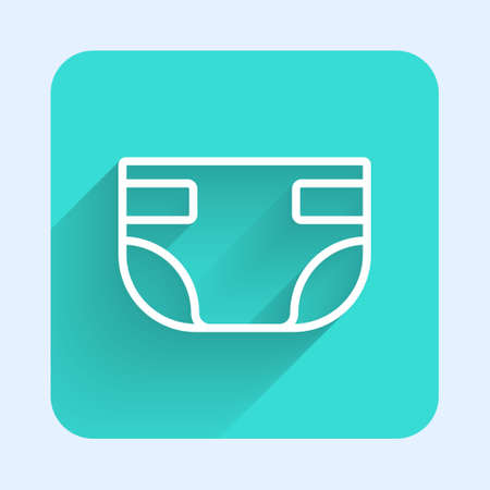 White line Baby absorbent diaper icon isolated with long shadow. Green square button. Vector