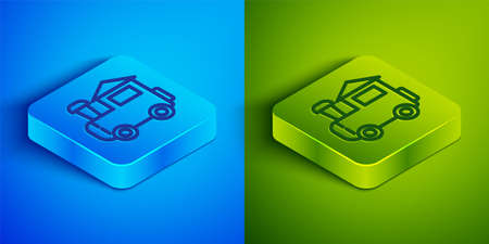 Isometric line Toy train icon isolated on blue and green background. Square button. Vector