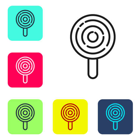 Black line Lollipop icon isolated on white background. Candy sign. Food, delicious symbol. Set icons in color square buttons. Vector 向量圖像