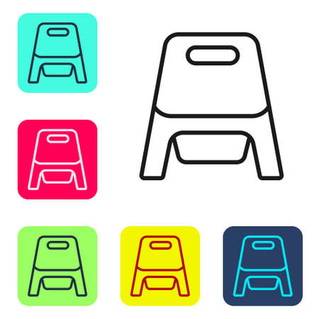 Black line Baby potty icon isolated on white background. Chamber pot. Set icons in color square buttons. Vector 矢量图像
