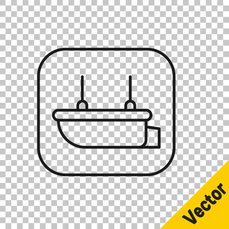 Black line Lifeboat icon isolated on transparent background. Vector