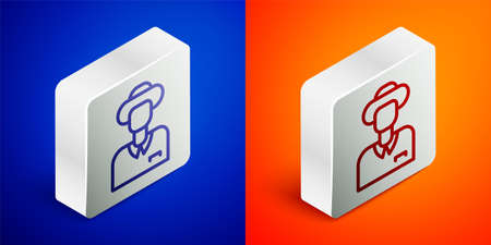 Isometric line Tourist icon isolated on blue and orange background. Travelling, vacation, tourism concept. Silver square button. Vector 矢量图像