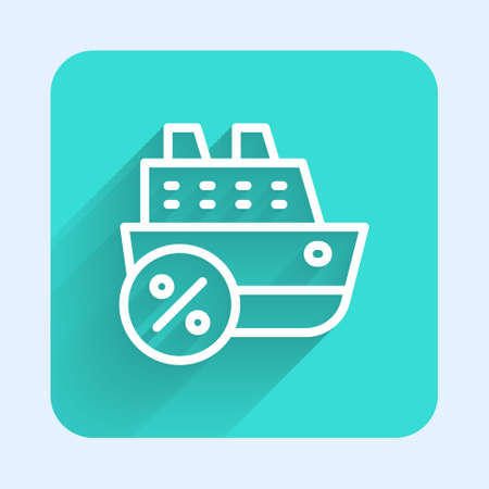 White line Cruise ship icon isolated with long shadow. Travel tourism nautical transport. Voyage passenger ship, cruise liner. Worldwide cruise. Green square button. Vector