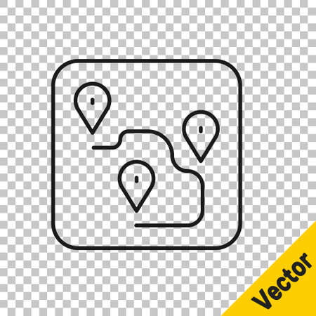 Black line Route location icon isolated on transparent background. Map pointer sign. Concept of path or road. GPS navigator. Vector