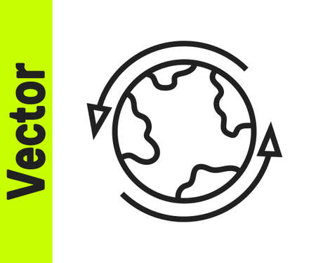 Black line Worldwide icon isolated on white background. Pin on globe. Vector