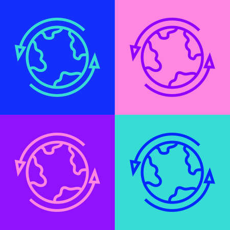 Pop art line Worldwide icon isolated on color background. Pin on globe. Vector 矢量图像