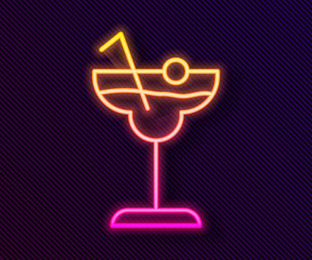 Glowing neon line Cocktail and alcohol drink icon isolated on black background. Vector