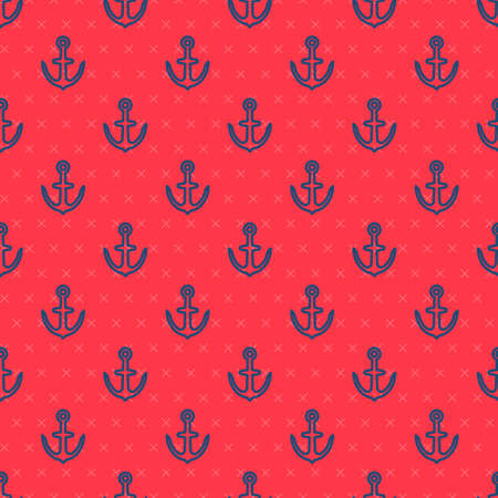 Blue line Anchor icon isolated seamless pattern on red background. Vector