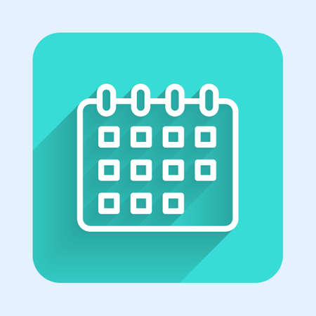 White line Calendar icon isolated with long shadow. Event reminder symbol. Green square button. Vector 矢量图像