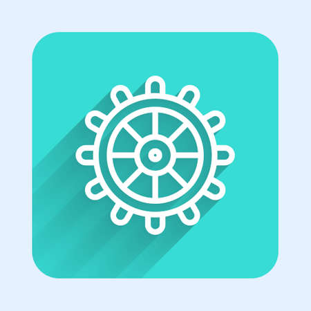 White line Ship steering wheel icon isolated with long shadow. Green square button. Vector