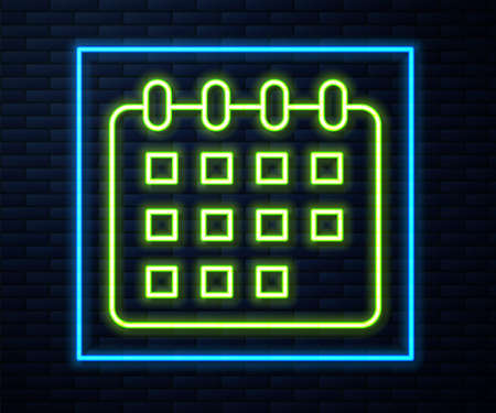 Glowing neon line Calendar icon isolated on brick wall background. Event reminder symbol. Vector