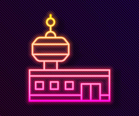 Glowing neon line Airport control tower icon isolated on black background. Vector