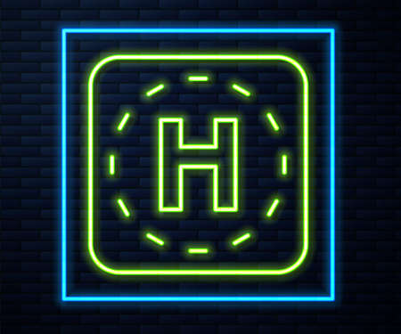 Glowing neon line Helicopter landing pad icon isolated on brick wall background. Helipad, area, platform, H letter. Vector 矢量图像