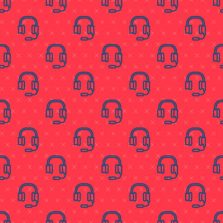 Blue line Headphones with microphone icon isolated seamless pattern on red background. Vector Ilustrace