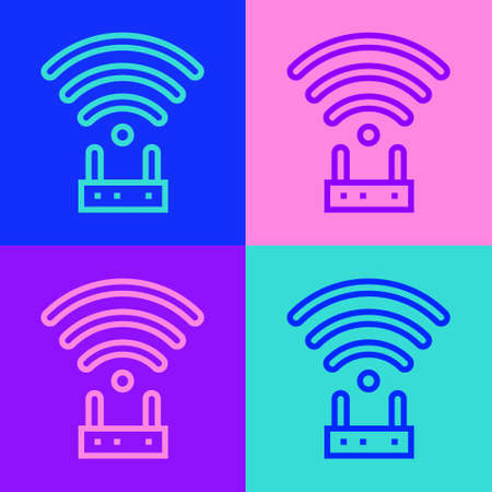 Pop art line Router and wi-fi signal icon isolated on color background. Wireless ethernet modem router. Computer technology internet. Vector