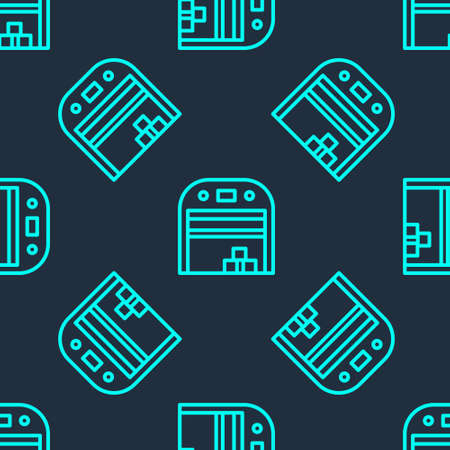 Green line Aircraft hangar icon isolated seamless pattern on blue background. Vector 矢量图像