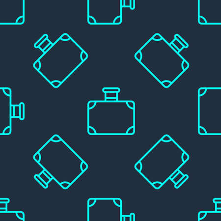 Green line Suitcase for travel icon isolated seamless pattern on blue background. Traveling baggage sign. Travel luggage icon. Vector