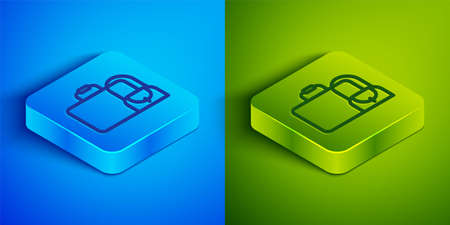 Isometric line Suitcase for travel icon isolated on blue and green background. Traveling baggage sign. Travel luggage icon. Square button. Vector