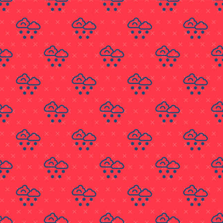 Blue line Cloud with snow icon isolated seamless pattern on red background. Cloud with snowflakes. Single weather icon. Snowing sign. Vector 矢量图像