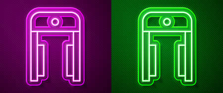 Glowing neon line Metal detector in airport icon isolated on purple and green background. Airport security guard on metal detector check point. Vector