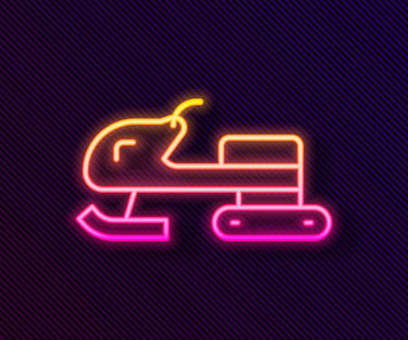 Glowing neon line Snowmobile icon isolated on black background. Snowmobiling sign. Extreme sport. Vector