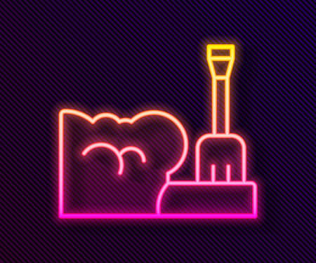 Glowing neon line Shovel in snowdrift icon isolated on black background. Vector Ilustracja