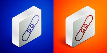 Isometric line Snowboard icon isolated on blue and orange background. Snowboarding board icon. Extreme sport. Sport equipment. Silver square button. Vector