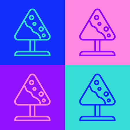 Pop art line Road sign avalanches icon isolated on color background. Snowslide or snowslip rapid flow of snow down a sloping surface. Vector Vettoriali