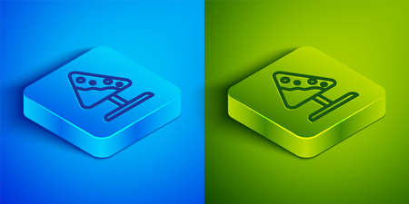 Isometric line Road sign avalanches icon isolated on blue and green background. Snowslide or snowslip rapid flow of snow down a sloping surface. Square button. Vector 矢量图像