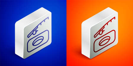 Isometric line Winter fishing icon isolated on blue and orange background. Silver square button. Vector