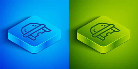 Isometric line Hockey helmet icon isolated on blue and green background. Square button. Vector 矢量图像