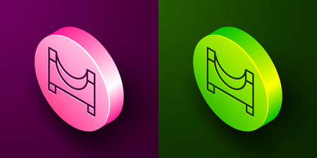 Isometric line Skate park icon isolated on purple and green background. Set of ramp, roller, stairs for a skatepark. Extreme sport. Circle button. Vector