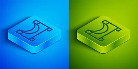 Isometric line Skate park icon isolated on blue and green background. Set of ramp, roller, stairs for a skatepark. Extreme sport. Square button. Vector 矢量图像