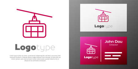 Logotype line Cable car icon isolated on white background. Funicular sign. Logo design template element. Vector Vettoriali